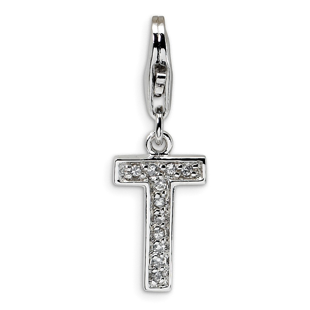 Sterling Silver CZ Letter T with Lobster Clasp Charm (0.9in)