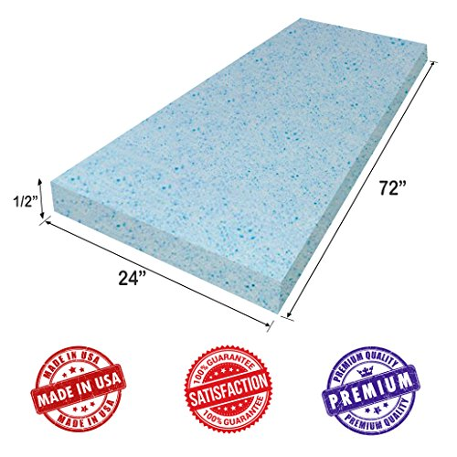 "Upholstery Visco Cool Gel Memory Foam Sheet- 1/2""H x24""W x72""L - Luxury Quality- Good for Sofa & Chair Cushion, Mattresses, Wheelchair, Doctor Recomended for Backache & Bed Sores- Dream Solutions USA"