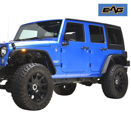 EAG Front and Rear Fender Flares Ultra Stubby LED Steel - fits 07-18 Jeep  Wrangler JK