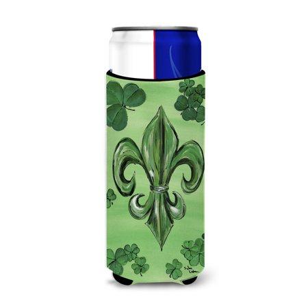 St Patrick's Day Fleur de lis Ultra Beverage Insulators for slim cans