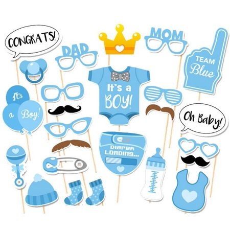 Redcolourful 25-Piece Photo Booth Props for Baby Shower Baby Party with Diaper Glasses Boy Version Christmas's Gift,Clearance](Baby Shower For Boy)