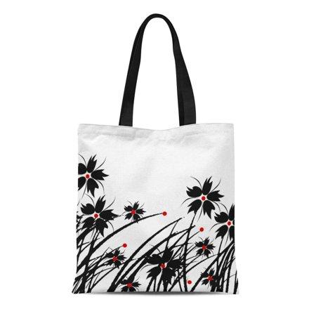 LADDKE Canvas Tote Bag Lounge Floral Red Black White Sofa Sets Reusable Handbag Shoulder Grocery Shopping Bags ()