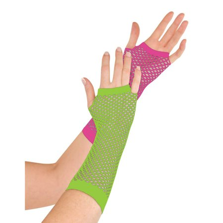 Amscan Amscan Deluxe Long Pink and Green Neon Fishnet Gloves Party Supplies and Decorations - Fishnet Decorations