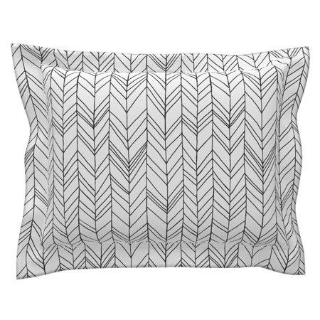 Feather Chevron Black White Modern Decor Feather Pillow