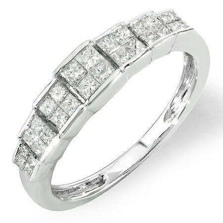 Dazzlingrock Collection 0.55 Carat (ctw) 14k Princess Diamond Ladies Bridal Engagement Ring 1/2 CT, White Gold, Size - 1/2 Ct Ctw Diamond Ring