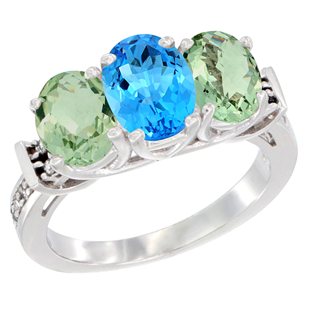 10K White Gold Natural Swiss Blue Topaz & Green Amethyst Sides Ring 3-Stone Oval Diamond Accent, sizes 5 10 by WorldJewels