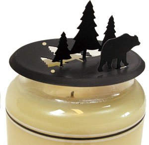 Village Wrought Iron C-LD-83 Bear-Pine Candle Jar Topper