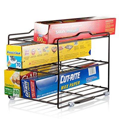 kitchen wrap organizer rack - cabinet organizer for food ...