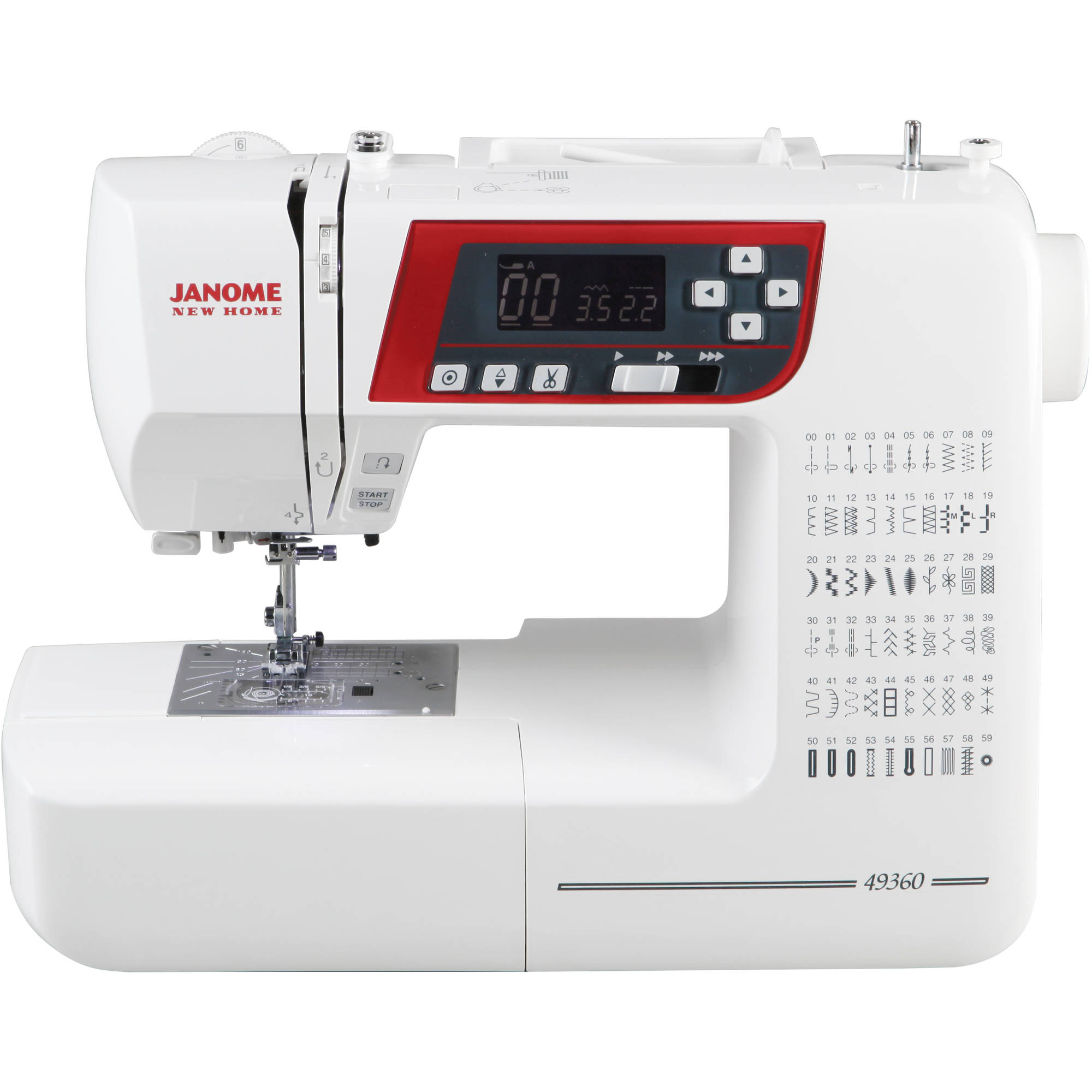 Janome 49360 High-End Quilting and Sewing Machine with Exclusive Superior Plus Feeding System, 60 Stitches, 6 1-Step Buttonholes, Memorized Needle Up/Down and LCD Screen