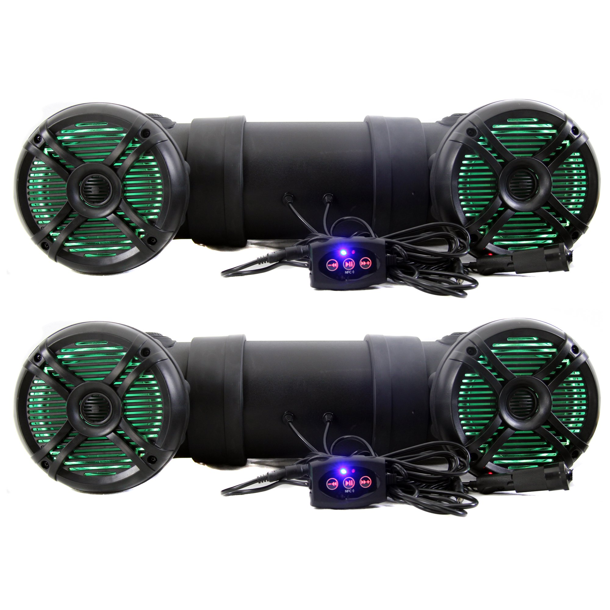 Q Power 500W Marine Bluetooth ATV Speaker System with LED Lights (2 Pack)