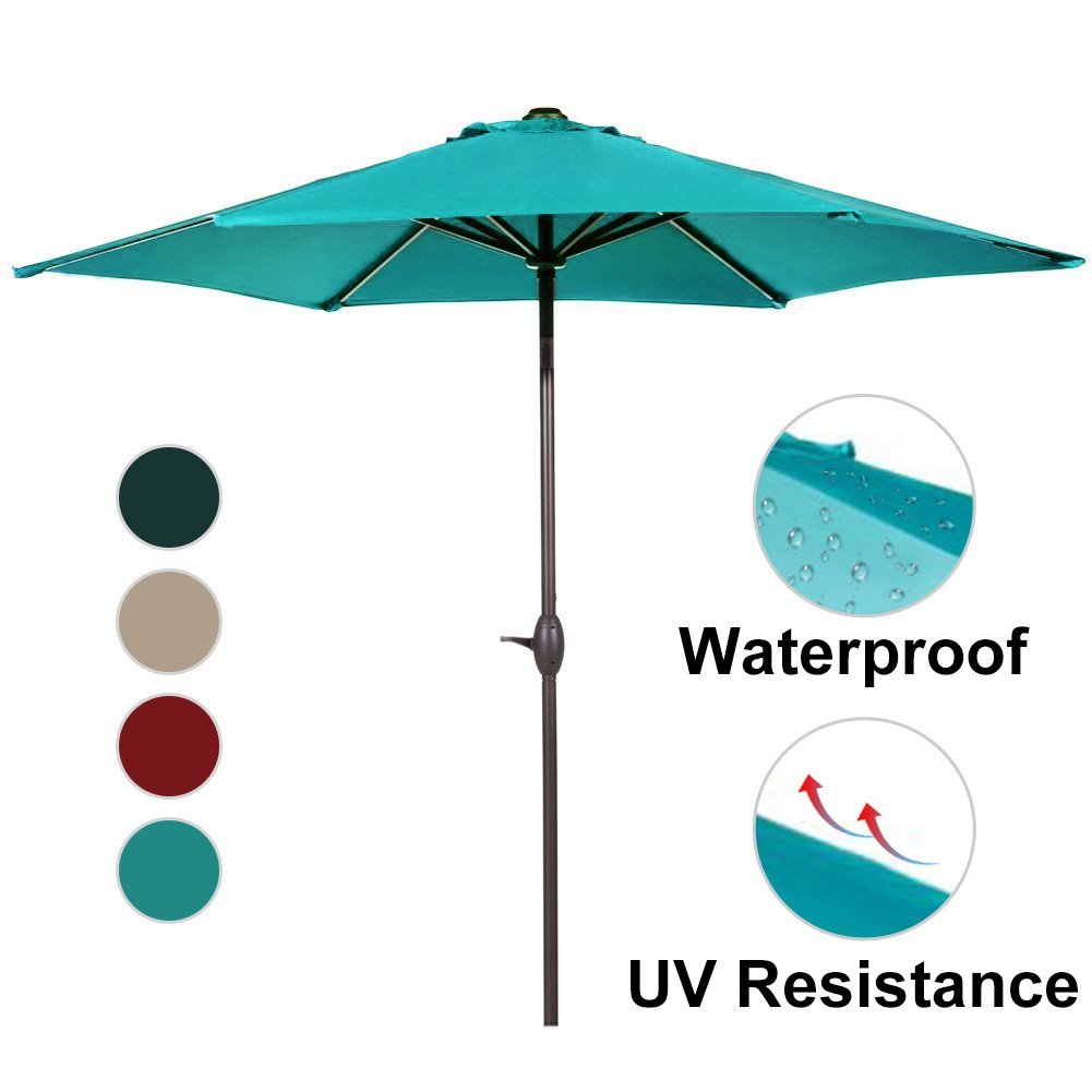 Abba Patio 9-Feet Patio Umbrella with Push Button Tilt and Crank, Turquoise
