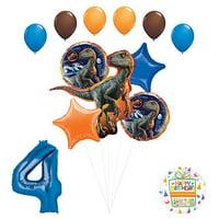 Jurassic World 4th Birthday Party Supplies Raptor Balloon Bouquet Decorations