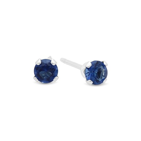 Sapphire Italian - Round Cut Simulated Sapphire Blue CZ Sterling Silver Stud Earrings Made in Italy + Bonus Polishing Cloth