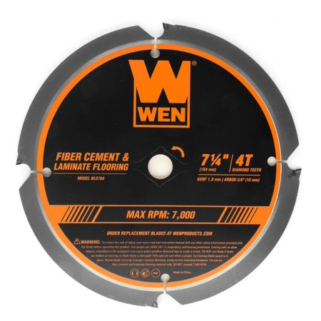 WEN 7-1/4-Inch 4-Tooth Diamond-Tipped (PCD) Professional Circular Saw Blade for Fiber Cement and Laminate