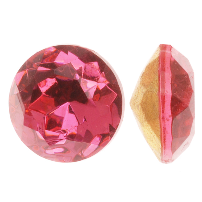 Czech Glass Table Cut - Round Chatons Pointed Foiled Back Rose 11mm (4)