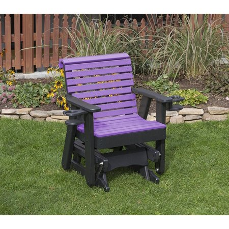 Outdoor Exterior Bright Purple Finish 2 Ft Poly Lumber Roll Back Everlasting Amish Crafted Traditional Glider With Cupholder Arms (Patio Chairs Bright)