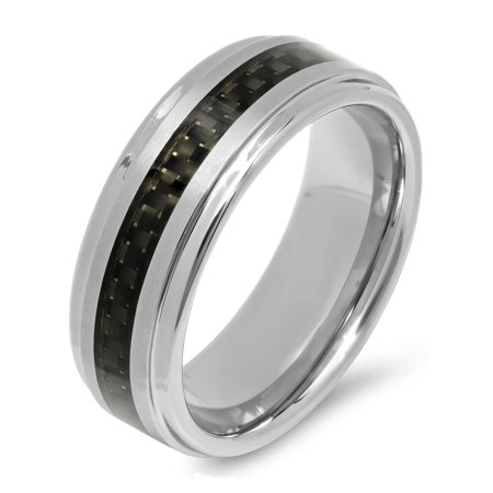 Men S Tungsten And Black Carbon Fiber Wedding Band Mens Ring