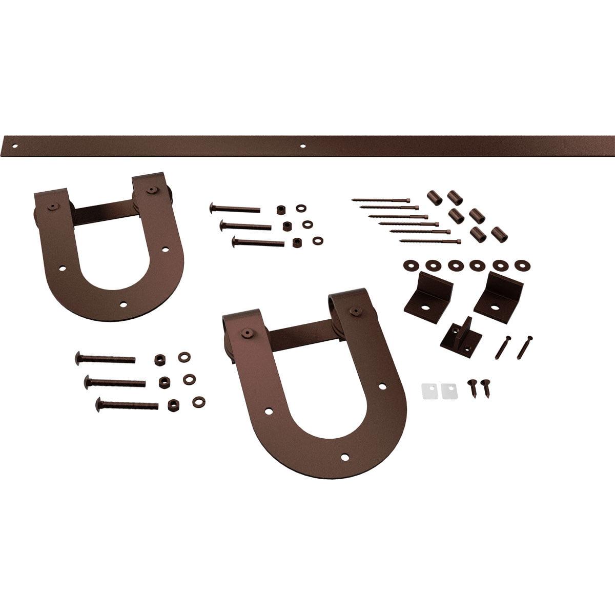 Premium Horseshoe Barn Door Hardware Set W 5 Track For 1 3 8 Doors Black Walmart Com Walmart Com