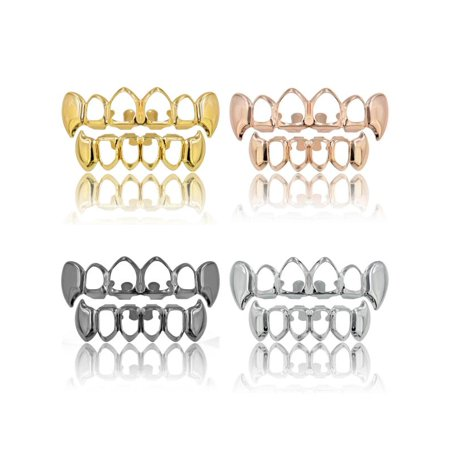Rose Gold Sliver Plated Hip Hop Teeth Grillz Mouth Caps Top Bottom Tooth - Gold Teeth Caps