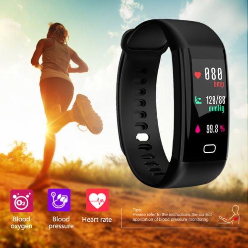 F07 Waterproof IP68 Blood Pressure Oxygen Heart Rate Monitor High-Definition Display BluetoothSports Smart Bracelet Watch-Black