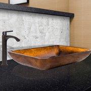 VIGO Rectangular Russet Glass Vessel Sink and Linus Faucet Set, Antique Rubbed Bronze