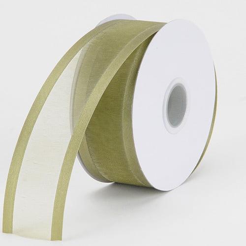 Willow - Organza Ribbon Two Striped Satin Edge - ( W: 3/8 inch   L: 25 Yards )