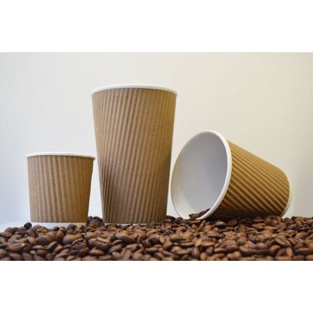 SafePro CKRC512 Kraft Ripple Paper Hot Cups, Coffee Cups, 12-Oz Capacity (100 PCS) - Paper Coffee Cup