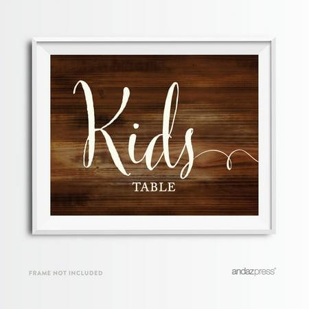 Kids Table Rustic Wood Wedding Party Signs - Rustic Weddings