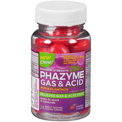 Phazyme Gas & Acid Maximum Strength Cherry Flavor Coated Chews, 24 ct