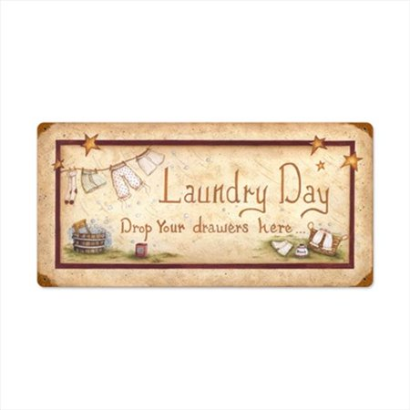 Past Time Signs LANE028 Laundry Drop Drawers Home and Garden Vintage Metal Sign