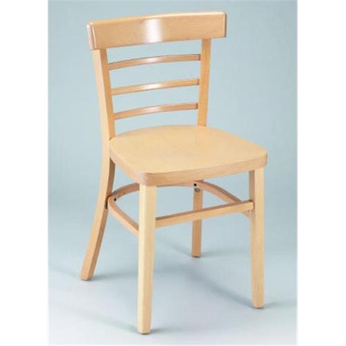Alston Quality 1105-UP-N-Ebony Ladder Back Side Chair With Upholstered Seat Natural Frame