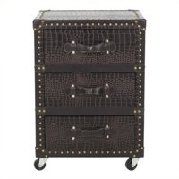 Hawthorne Collection 3 Drawer Rolling Chest in Dark Brown and Black