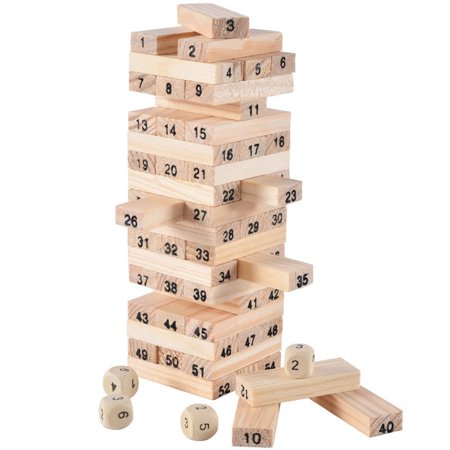 - Mosunx Wooden Stacking Board Math Games Tumble Tower Building Blocks 54 Pcs Educational