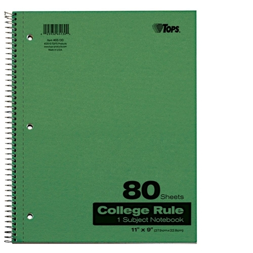Tops Tops Wirebound 80 Sheet College Ruled Notebook -TOP65130