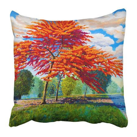 ARTJIA Oil Painting Landscape Original Red Orange Color of Peacock Flowers in the Morning Hand Blue Sky Pillowcase 18x18