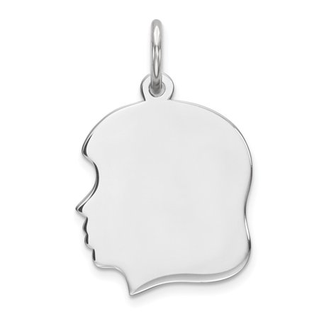 Roy Rose Jewelry Sterling Silver Engraveable Girl Disc Charm Pendant