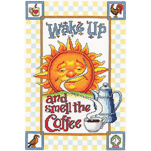 "Smell The Coffee Counted Cross Stitch Kit, 9"" x 13"""