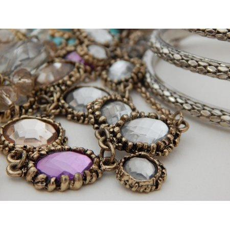 Designer Multi Gemstone - Canvas Print Accessory Gemstones Gems Bracelet Jewelry Necklace Stretched Canvas 10 x 14