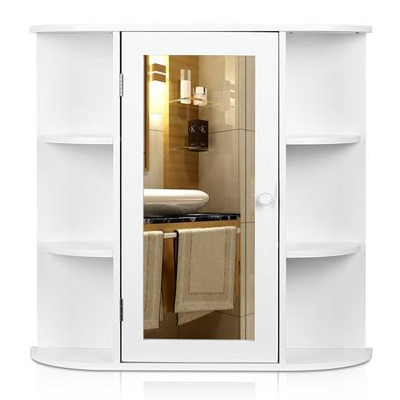 HOMFA Bathroom Wall Cabinet Multipurpose Kitchen Medicine Storage Organizer with Mirror Single Door Shelves,White Finish - Walmart.com