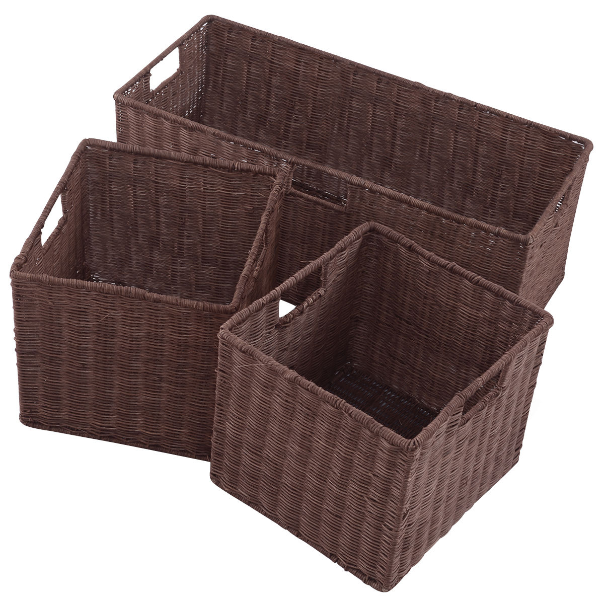 Gymax 3PCS Rattan Storage Baskets Nest Nesting Cube Bin Box