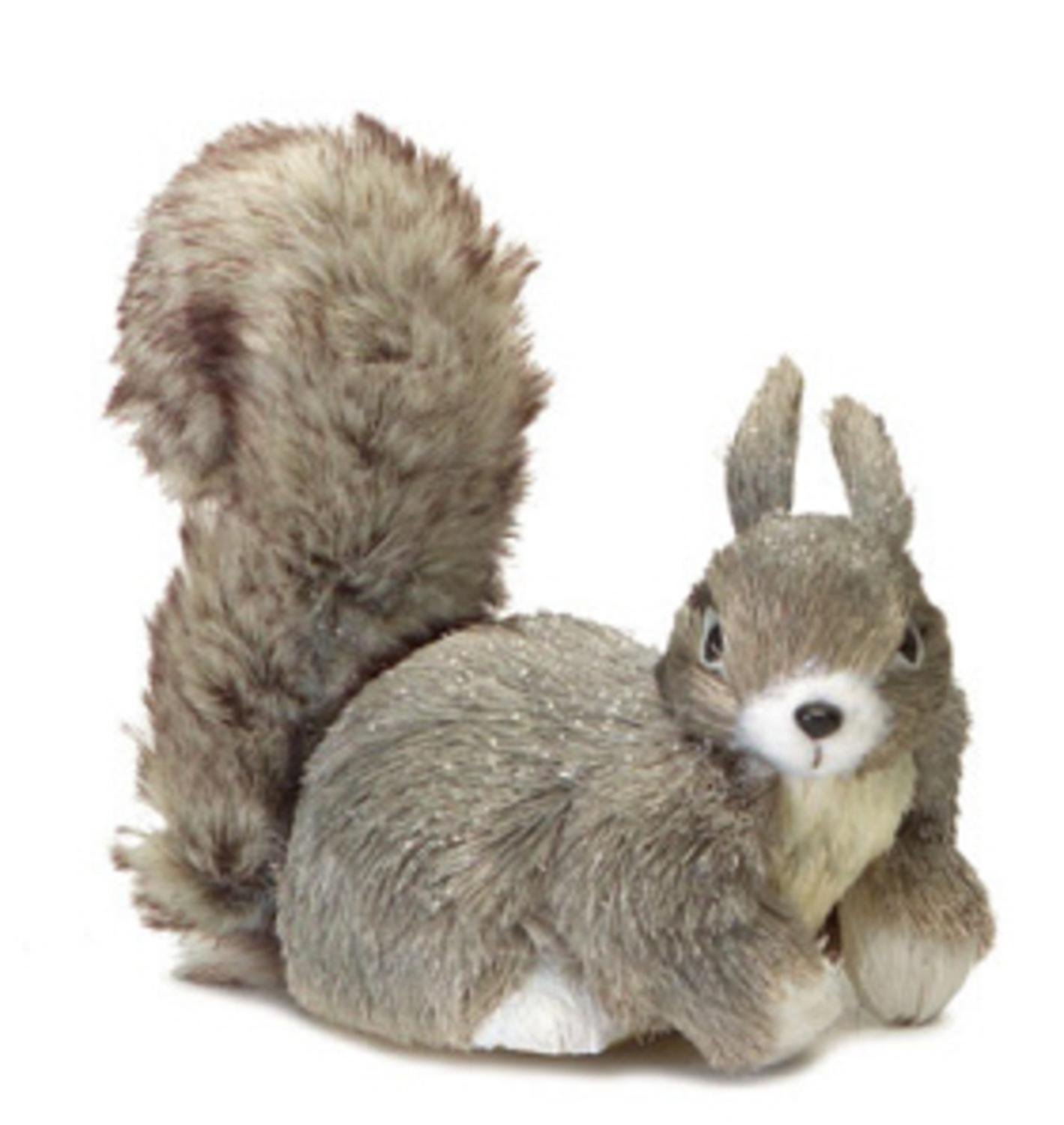 "9"" Shimmering Silver Gray Right Facing Fluffy Tail Sisal Squirrel Christmas Table Top Decoration"