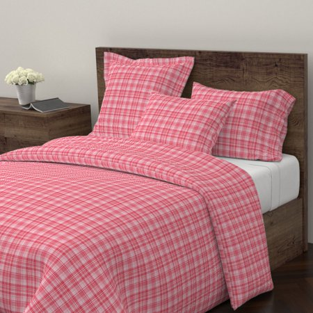 Rustic Holiday Christmas Farmhouse Plaid Tartan Sateen Duvet Cover by Roostery ()
