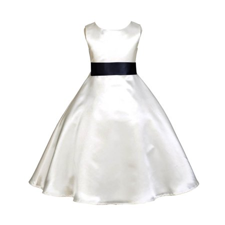 Ekidsbridal Formal Satin Ivory A-Line Flower Girl Dress Bridal Bridesmaid Wedding Pageant Toddler Recital Easter Summer Reception Communion Graduation Baby Baptism Special Occasions - Ivory Dresses For Toddlers