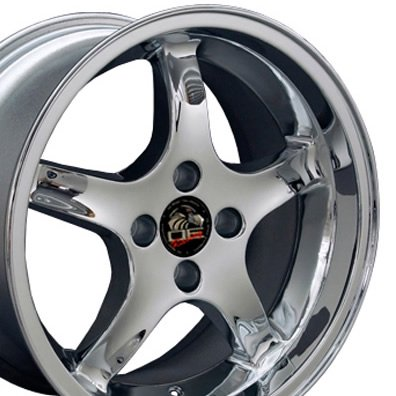 17x9 Wheel Fits Ford® Mustang® - 4-Lug Cobra R Style Chrome Rim - REAR FITMENT ONLY