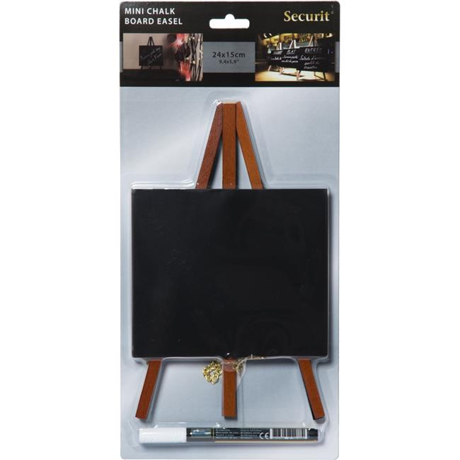 Securit MNI-M-KR-1 Table Chalkboard Easel & Marker, Mahogany