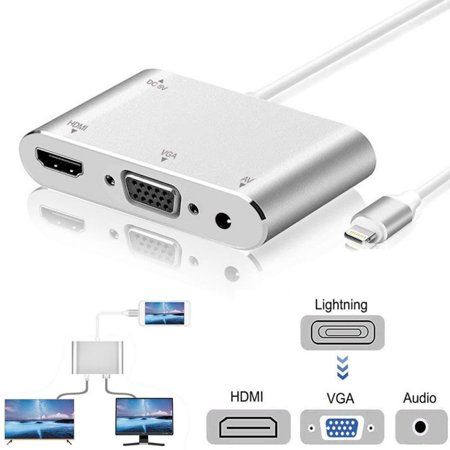 Minicom Vga Data Transmitter (Lightning to HDMI VGA Audio Adapter Cable ,Mirror Display Data Cable Plug And Play 1080P HD Converter for iPhone 5 / 5S / 6/6 s / 6 plus / 6)