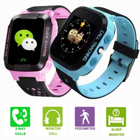 Kids Smartwatches with GPS Flash Night Light Touch Screen Anti-lost Alarm Smart