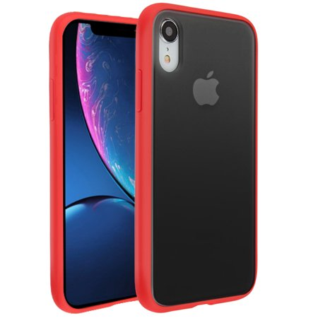 Apple iPhone XR (6.1 inch) Phone Case Hybrid Fusion Rubber Silicone TPU Gel Protect Bumper Slim Fit Shell Back Cover Heavy Duty [Semi-Transparent] Smoke Frosted RED Case for Apple iPhone Xr (6.1