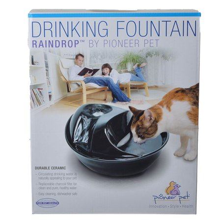 Pioneer Raindrop Ceramic Drinking Fountain - Black 60 oz (Ceramic Pet Fountain)
