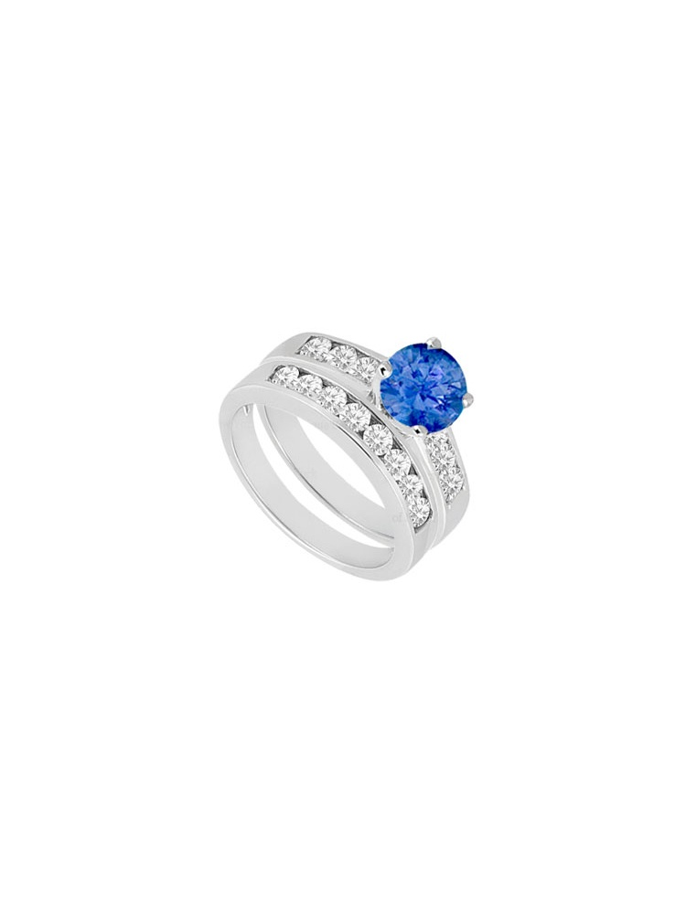 Created Sapphire Cubic Zirconia Engagement Ring with Wedding Band Sets 14K White Gold 1.50 CT by Love Bright